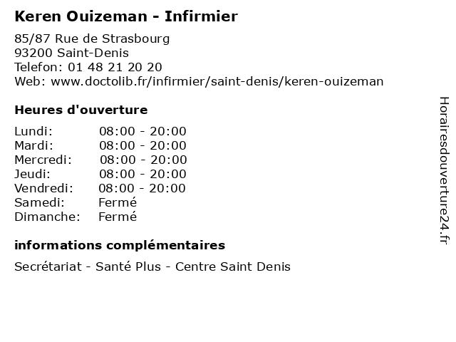 Keren Ouizeman - Infirmier à Saint-Denis: adresse et heures d'ouverture