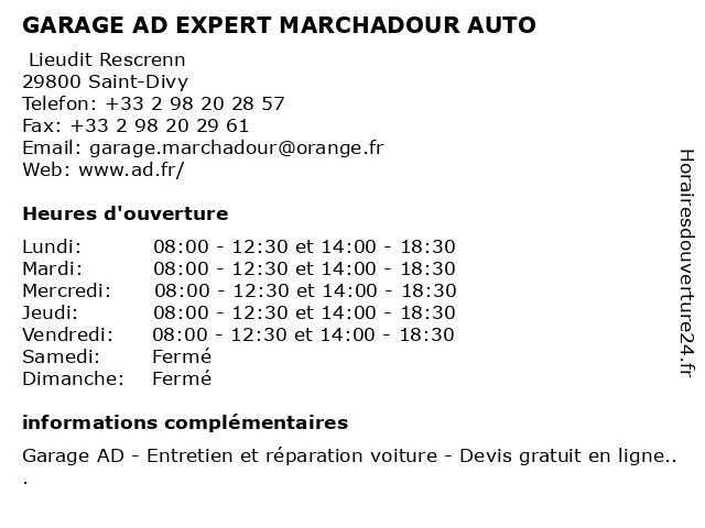 GARAGE AD EXPERT MARCHADOUR AUTO à Saint-Divy: adresse et heures d'ouverture