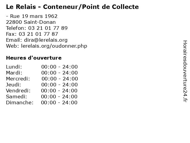 Le Relais - Conteneur/Point de Collecte à Saint-Donan: adresse et heures d'ouverture