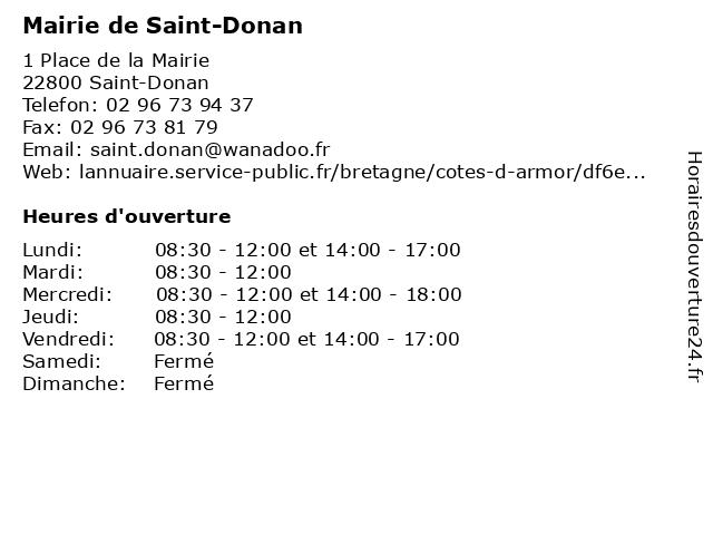 Mairie de Saint-Donan à Saint-Donan: adresse et heures d'ouverture