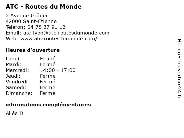 ATC - Routes du Monde à Saint-Etienne: adresse et heures d'ouverture