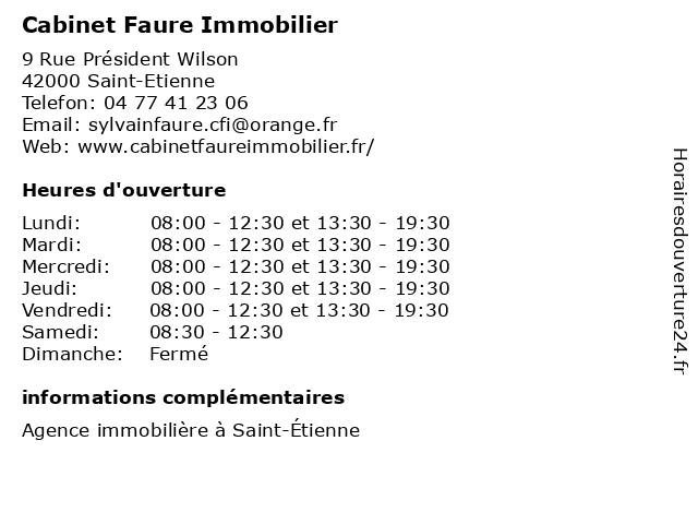 Cabinet Faure Immobilier à Saint-Etienne: adresse et heures d'ouverture