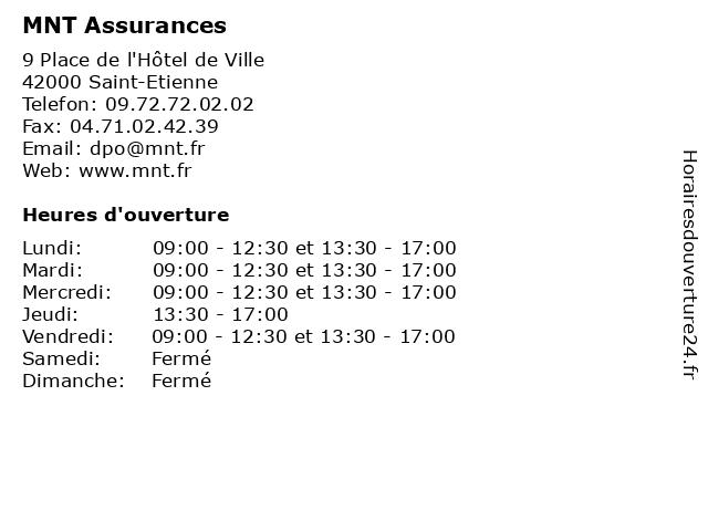 MNT Assurances à Saint-Etienne: adresse et heures d'ouverture