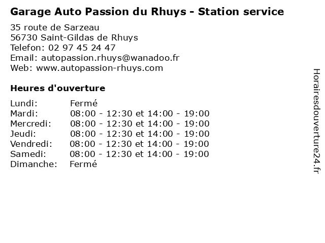Garage Auto Passion du Rhuys - Station service à Saint-Gildas de Rhuys: adresse et heures d'ouverture