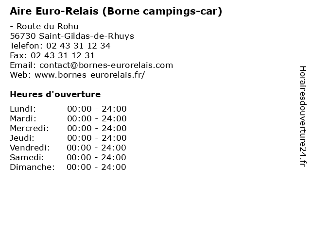 Aire Euro-Relais (Borne campings-car) à Saint-Gildas-de-Rhuys: adresse et heures d'ouverture