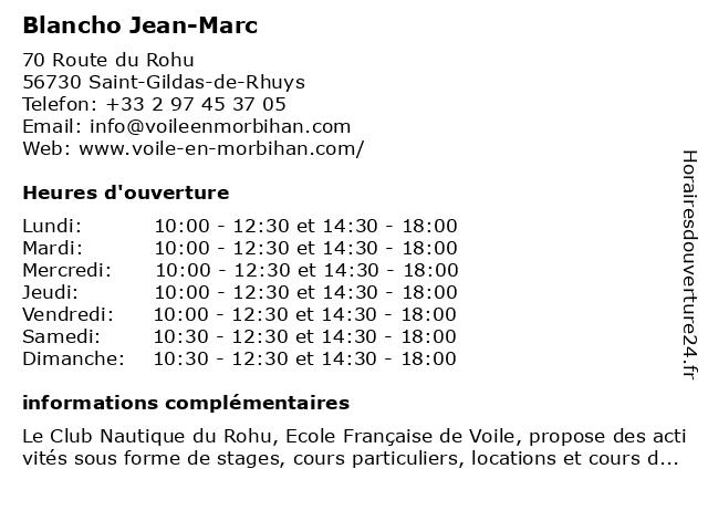 Blancho Jean-Marc à Saint-Gildas-de-Rhuys: adresse et heures d'ouverture