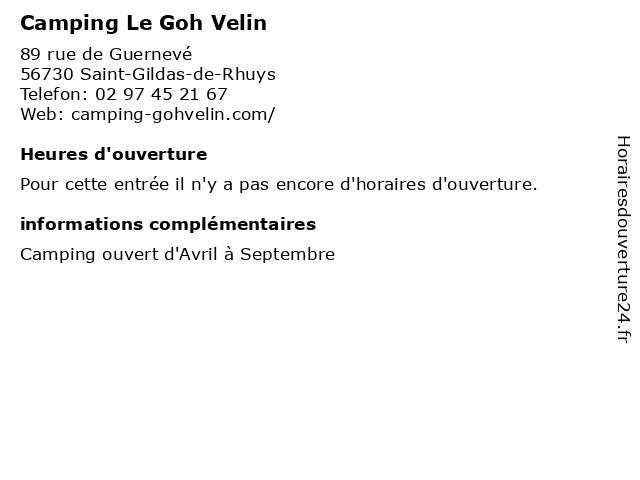 Camping Le Goh Velin à Saint-Gildas-de-Rhuys: adresse et heures d'ouverture