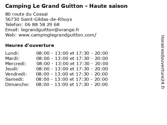 Camping Le Grand Guitton - Haute saison à Saint-Gildas-de-Rhuys: adresse et heures d'ouverture