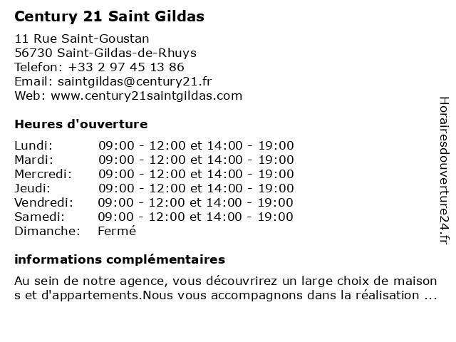 Century 21 Saint Gildas à Saint-Gildas-de-Rhuys: adresse et heures d'ouverture