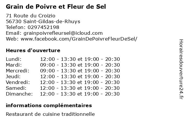 Grain de Poivre et Fleur de Sel à Saint-Gildas-de-Rhuys: adresse et heures d'ouverture