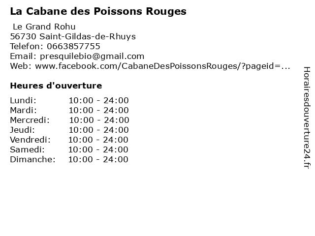 La Cabane des Poissons Rouges à Saint-Gildas-de-Rhuys: adresse et heures d'ouverture