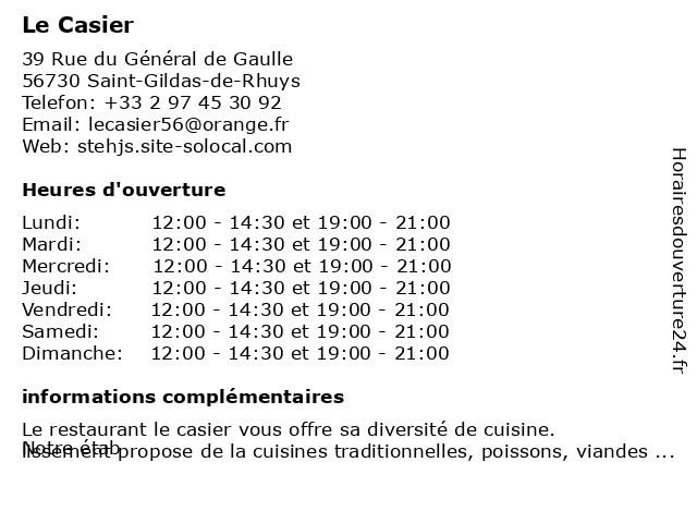 Le Casier à Saint-Gildas-de-Rhuys: adresse et heures d'ouverture
