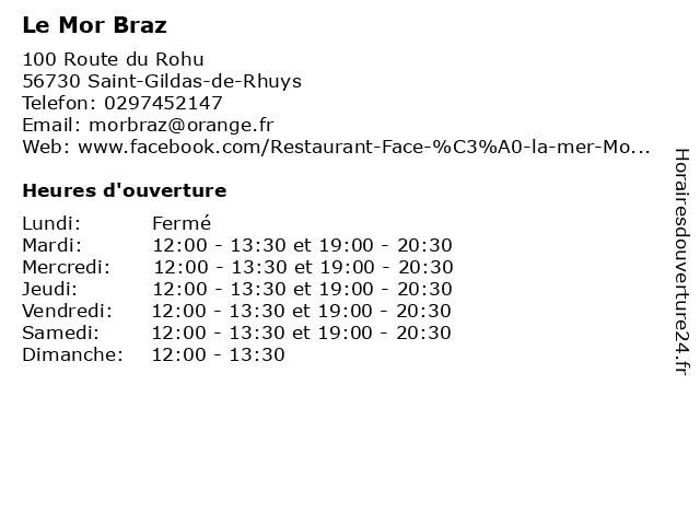 Le Mor Braz à Saint-Gildas-de-Rhuys: adresse et heures d'ouverture