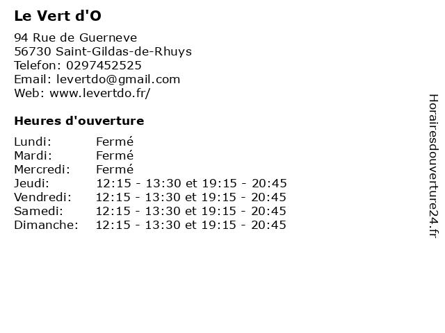 Le Vert d'O à Saint-Gildas-de-Rhuys: adresse et heures d'ouverture