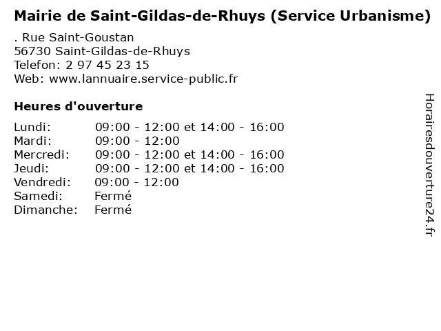 Mairie de Saint-Gildas-de-Rhuys (Service Urbanisme) à Saint-Gildas-de-Rhuys: adresse et heures d'ouverture