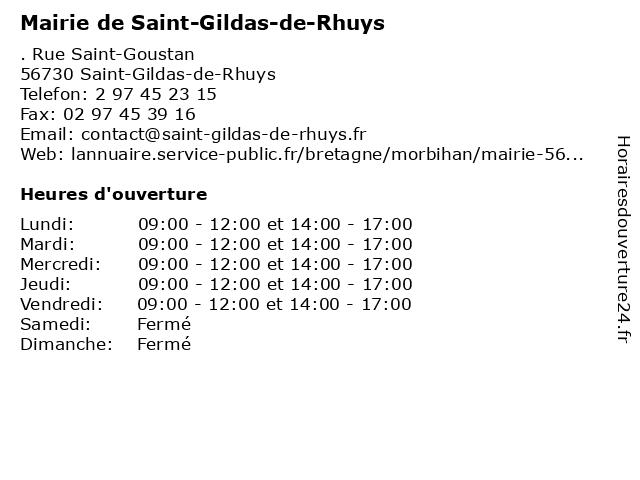 Mairie de Saint-Gildas-de-Rhuys à Saint-Gildas-de-Rhuys: adresse et heures d'ouverture
