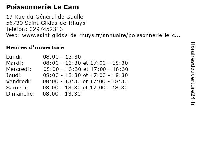 Le Cam Christophe à St Gildas De Rhuys: adresse et heures d'ouverture