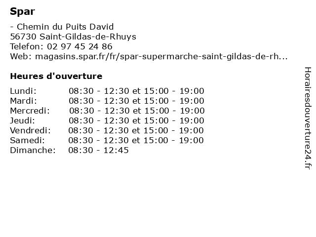 Spar à Saint-Gildas-de-Rhuys: adresse et heures d'ouverture