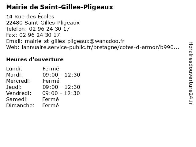 Mairie de Saint-Gilles-Pligeaux à Saint-Gilles-Pligeaux: adresse et heures d'ouverture