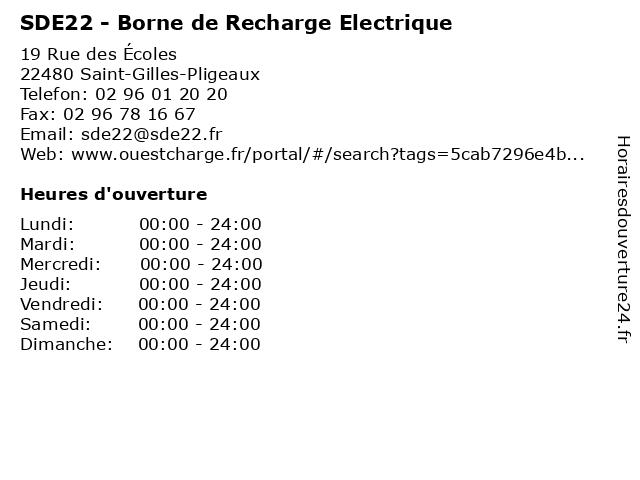 SDE22 - Borne de Recharge Electrique à Saint-Gilles-Pligeaux: adresse et heures d'ouverture