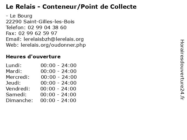 Le Relais - Conteneur/Point de Collecte à Saint-Gilles-les-Bois: adresse et heures d'ouverture