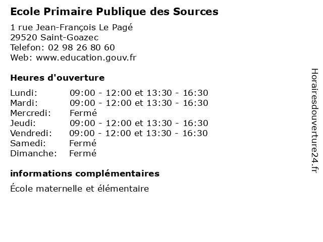 Ecole Primaire Publique des Sources à Saint-Goazec: adresse et heures d'ouverture