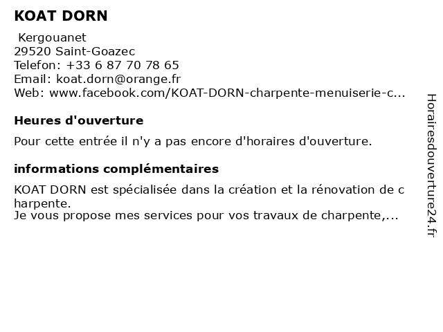 KOAT DORN à Saint-Goazec: adresse et heures d'ouverture