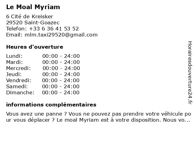 Le Moal Myriam à Saint-Goazec: adresse et heures d'ouverture