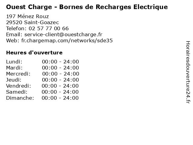 Ouest Charge - Bornes de Recharges Electrique à Saint-Goazec: adresse et heures d'ouverture