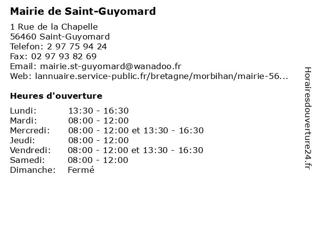 Mairie de Saint-Guyomard à Saint-Guyomard: adresse et heures d'ouverture