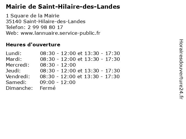 Mairie de Saint-Hilaire-des-Landes à Saint-Hilaire-des-Landes: adresse et heures d'ouverture