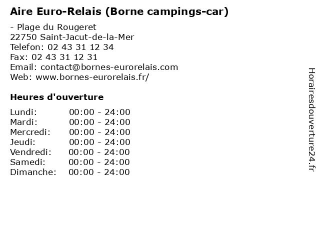 Aire Euro-Relais (Borne campings-car) à Saint-Jacut-de-la-Mer: adresse et heures d'ouverture