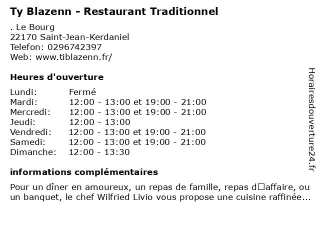 Ty Blazenn - Restaurant Traditionnel à Saint-Jean-Kerdaniel: adresse et heures d'ouverture