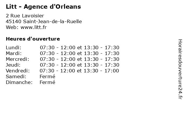 Litt agence d 39 orleans horaires d 39 ouverture 2 rue - Horaire piscine st jean de la ruelle ...