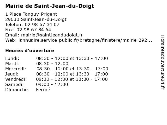 Mairie de Saint-Jean-du-Doigt à Saint-Jean-du-Doigt: adresse et heures d'ouverture