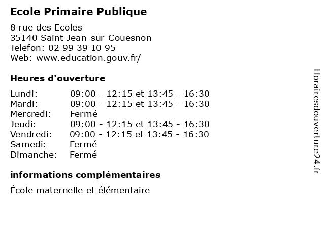 Ecole Primaire Publique à Saint-Jean-sur-Couesnon: adresse et heures d'ouverture