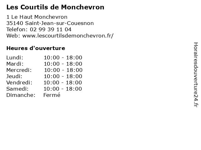 Les Courtils de Monchevron à Saint-Jean-sur-Couesnon: adresse et heures d'ouverture