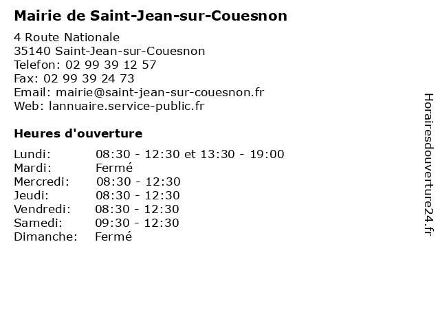 Mairie de Saint-Jean-sur-Couesnon à Saint-Jean-sur-Couesnon: adresse et heures d'ouverture