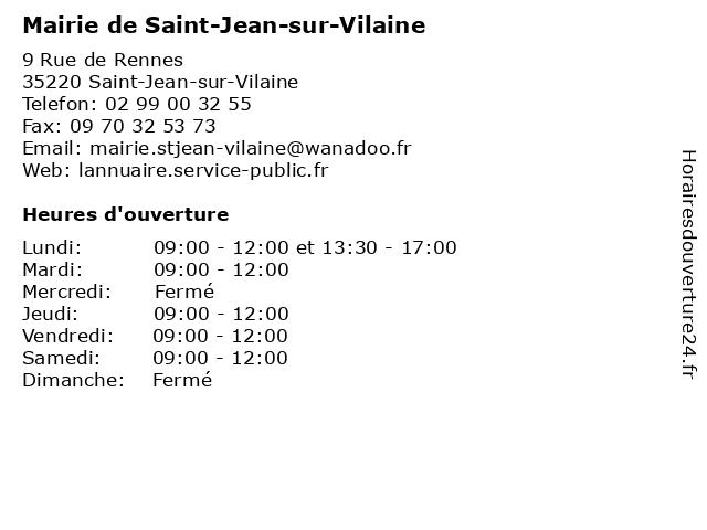 Mairie de Saint-Jean-sur-Vilaine à Saint-Jean-sur-Vilaine: adresse et heures d'ouverture