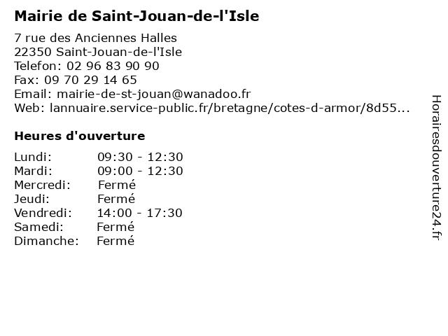 Mairie de Saint-Jouan-de-l'Isle à Saint-Jouan-de-l'Isle: adresse et heures d'ouverture