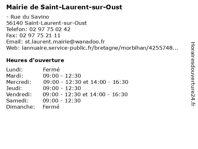 Mairie de Saint-Laurent-sur-Oust à Saint-Laurent-sur-Oust: adresse et heures d'ouverture