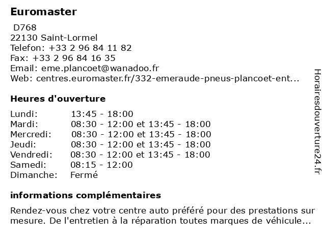 Euromaster à Saint-Lormel: adresse et heures d'ouverture