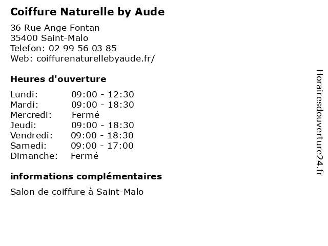 Coiffure Naturelle by Aude à Saint-Malo: adresse et heures d'ouverture