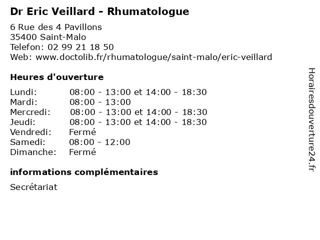 Dr Eric Veillard - Rhumatologue à Saint-Malo: adresse et heures d'ouverture