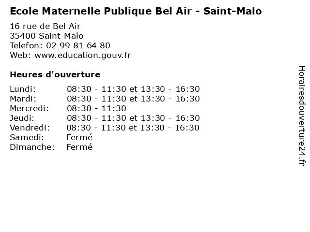 Ecole Maternelle Publique Bel Air - Saint-Malo à Saint-Malo: adresse et heures d'ouverture