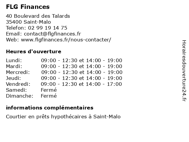 FLG Finances à Saint-Malo: adresse et heures d'ouverture