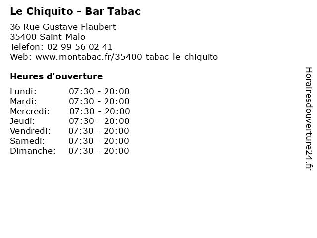 Le Chiquito - Bar Tabac à Saint-Malo: adresse et heures d'ouverture