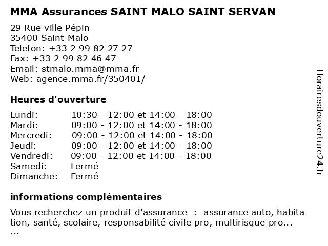 MMA ASSURANCES SAINT MALO SAINT SERVAN à Saint-Malo: adresse et heures d'ouverture
