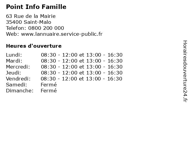 Point Info Famille à Saint-Malo: adresse et heures d'ouverture