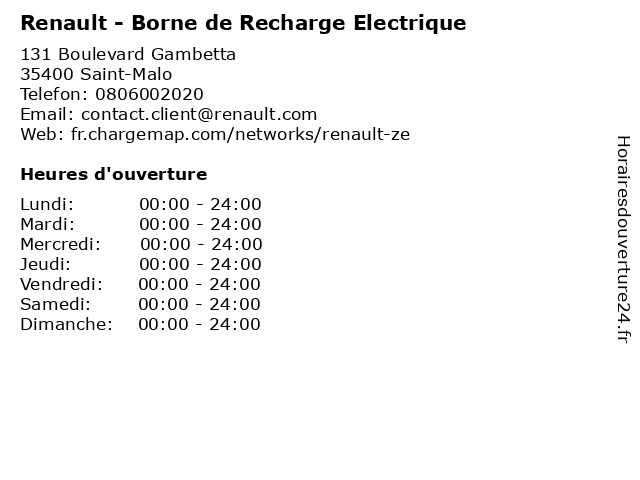 Renault - Borne de Recharge Electrique à Saint-Malo: adresse et heures d'ouverture